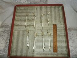 Lot of 7 Vintage Chandelier Crystal Prisms Spear 4quot; Drop Replacement Lamp Eyelet $18.00