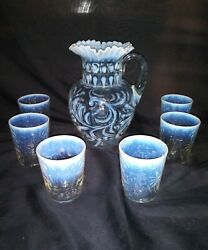 RARE Antique Glass Opalescent Water Pitcher in Buttons amp; Braids... $166.00