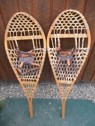 VINTAGE Snowshoes 42quot; Long x 14quot; Wide Have Leather Bindings DECORATION $49.45