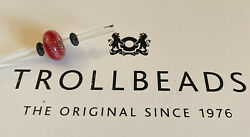 Authentic Trollbeads Glass 61349 Red Feather K14 $12.00