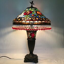 Beautiful Tiffany Style Stained Glass Double Lit Table Lamp Beaded Fringe 29x18 C $429.95