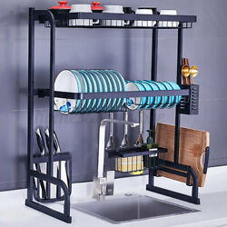 US Over The Sink 2 Tier Dish Drying Rack Stainless Kitchen Cutlery Holder Black $69.99