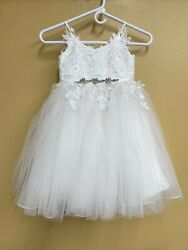 Girls White Flower Confirmation Beautiful Lacy Dress Size 6 JJ#x27;s House Straps $50.00