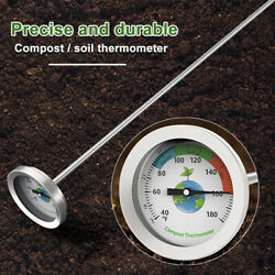 Ground Compost Thermometer Detector Garden Soil Dial Display Stainless Steel $21.57