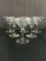 Set of 2 Vintage Mid Century Modern Wheat Etched Small Cocktail Martini Glasses $11.00