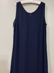 Avenue Dress Long Maxi Plus Size 18 20 Navy Blue Rayon Sleeveless V Neck $24.99