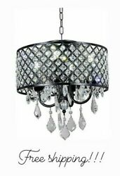 New Galaxy Lighting 4 Light Antique Black Round Metal Shade Crystal Chandelier $76.49