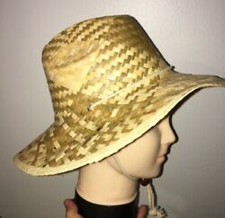 LARGE NATURAL Straw Summer HAT Sun Beach Wide Brim FISHING Hiking Unisex $11.95