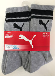 NWT 6 Pair PUMA Mens Socks 10 13 Cushioned Cool Cell Crew Arch Support Shoe 6 12 $14.99