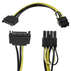 8 inch 15 Pin SATA Male to 8 Pin 62 PCI e Power Cable for Graphics Card $3.39