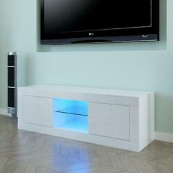 """49"""" Modern High Gloss TV Unit Cabinet Stand with LED Lights Shelves Home White $108.89"""