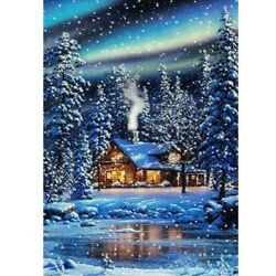 5D Full Drill Diamond Painting DIY Art Embroidery Snow House Home Decor Gifts $10.13