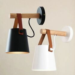 Modern Nordic Style Wood Wall Lamps Bed Bedside Light Lampshade Home Decoration $21.21