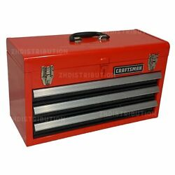 CRAFTSMAN Portable Tool Box 20.5 in Ball bearing 3 Drawer Red Steel and Lockable $69.98