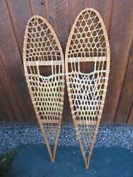 VINTAGE Snowshoes 48quot; Long x 12quot; Wide Has Leather Binding DECORATION $49.43