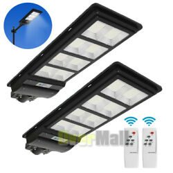 2Pack 900000LM 120W Solar LED Street Light Commercial Pole Wall Road Lamp IP67