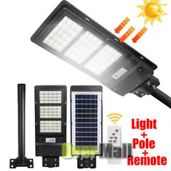 120W LED Durable Commercial Solar Street Light to Dusk Dawn With Remote and Pole