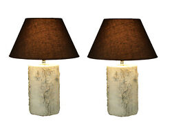 White Birch Wood Look Rustic Log Table Lamp with Shade Set of 2 $149.98