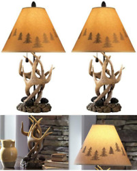 2 Rustic Lamp Set Ashley Furniture Signature Antler Table Lamps Mountain Styles $184.42