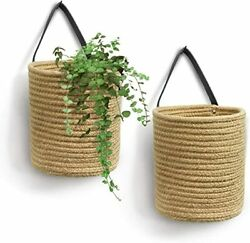 2 pack Jute Hanging Basket 7.87quot; x 7quot; Small Woven Fern Hanging Basket $31.99