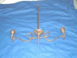 vtg parts antique double gas oil burning hanging ceiling light brass circa 1800s $79.95