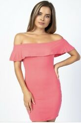 JUNIOR DRESSES A SUMMER STRETCH KNIT JERSEY WITH OFF THE SHOULDER NECKLINE NEW $10.79