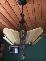 30s Art Deco Yellow Slip Shade Glass 5 Light Fixture Virden Chandelier Antique $1275.00