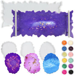 Epoxy Resin Tray Mold Silicone Agate Geode Coaster Molds for Casting Making DIY $13.49
