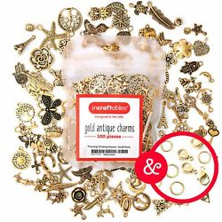Gold Antique Charms 100 pcs for Jewelry Making with Clasps by Incraftables $12.95