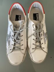 GGDB Golden Goose Sneakers Super Star White And Coral Red Accents. Sz.40 $275.00