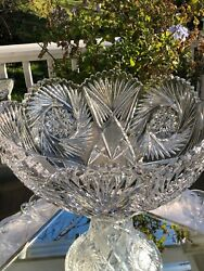 Antique Glass Punch Bowl onPedestal Silver Plate Ladle 12 Etched Cups AH.Heisey $599.00