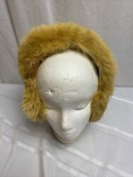 Vintage Light Brown Carmel Rabbit Fur Earmuffs head warmer Fur band Adult $19.89