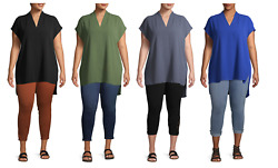 Terra amp; Sky Women#x27;s Plus Size Short Sleeve Woven Tunic Length $10.79