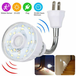 LED Motion Activated Sensor Night Light AC Outlet Plug In Indoor Wall Stair Lamp $10.98