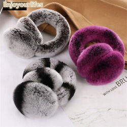 Double Side Fur Foldable Real Rabbit Fur Earmuffs Warm Ear Muffs Womens Earflap $17.90