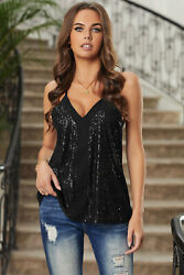 Black Sequin V Neck Racerback Adjustable Straps Lined Cami Tank Top MEDIUM 8 10