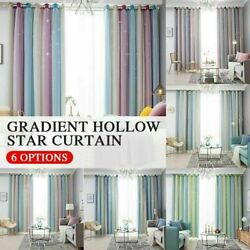 Star Curtains Blackout For Kids Girls Bedroom Living Room Double Layer 1 Panel $22.29