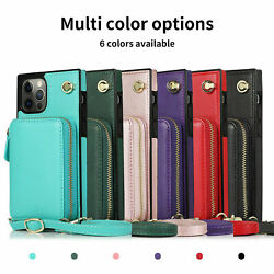 For iPhone 12 11 Pro Max XS XR X 7 8 Crossbody Strap Leather Wallet Case Cover $14.99