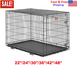 22quot; 48quot; Midwest iCrate Dog Crate Kennel Folding Metal Pet Cage Single Door Black $32.99
