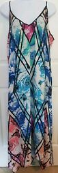 Women#x27;s NY Collection Sundress long maxi dress flowy trapeze floral loose M $19.99