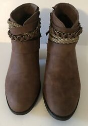Sugar Boots Brown Women#x27;s Faux Buckle Back Zip Booties Size 6.5 M Shoes $26.95