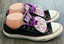 Converse All Star Womens Sneakers Size 9 Double Tongue Black Purple $29.99