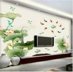 Removable Lotus FloweWaterproof Sticker Wall Living Room Kitchen Mural Décor $9.66