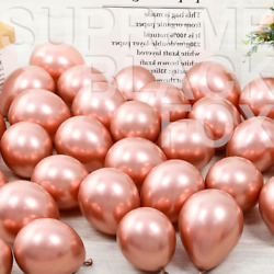 50 Rose Gold Metallic Balloons Chrome Shiny Latex 12quot; Thicken Wedding Party Baby $10.99
