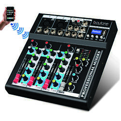 4 Channel Bluetooth Professional Audio Mixer Sound System With 48 Phantom USB $59.95