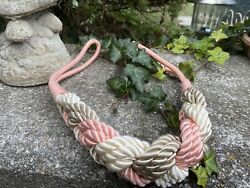 Vintage Cord Rope Braided Woven Belt Cream Pink Taupe Gold Hook End 29quot; Long $9.99