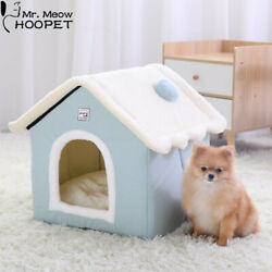 Winter Cat House Warm Washable Dog Bed Removable Cover Non Slip Bottom Pet Cave $35.36