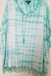Chaps Womens Plus BoHo Tied Dyed With Dolman Sleeves Top Shirt 2X Mint Green EUC $7.80