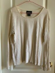 VINTAGE CAROLE LITTLE LARGE OFF WHITE RIBBED TOP $6.99