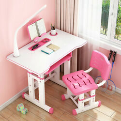 Height Adjustable Desk and Chair Set High School Student Children Study Table $85.54